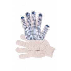 Перчатки рабочие с ПВХ  белые 3-х нитка (Точка)